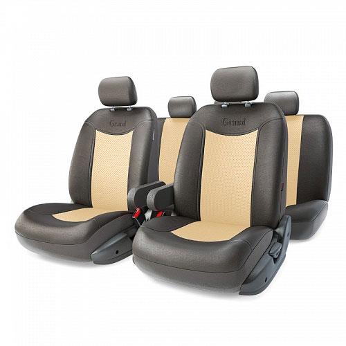 Авточехлы Autoprofi Grand Full, цвет: черный, бежевый, 13 предметов. Размер MGND-1305GF BK/L.BEАвтомобильные чехлы Autoprofi Grand Full изготавливаются из высококачественной экокожи с перфорированными цветными вставками. Мягкие и дышащие, чехлы являются отличным дополнением салона любого автомобиля. Изделия выполнены в классическом дизайне и придают автомобильному интерьеру современные и солидные черты.Полиуретановое покрытие искусственной кожи чехлов устойчиво к солнечным лучам, механическому воздействию и растяжению, благодаря чему чехлы отличаются продолжительным сроком эксплуатации.Чехлы из экокожи выглядят стильно в салоне любого автомобиля. На вид чехлы неотличимы от кожаных. Они хорошо скрывают уже имеющиеся дефекты кресла.Универсальная конструкция подходит для большинства автомобильных сидений. Подходят для автомобилей с боковыми подушками безопасности (распускаемый шов).Комплектация: 5 подголовников, 2 подлокотника, 2 спинки переднего ряда, 2 сиденья переднего ряда, 1 спинка заднего ряда, 1 сиденье заднего ряда.Особенности: - Толщина поролона: 5 мм.- Карманы в спинках передних сидений.- 3 молнии в сиденье заднего ряда.- 3 молнии в спинке заднего ряда.- Предустановленные крючки на широких резинках.- Крепление передних спинок липучками.- Использование с боковыми airbag. Размер подголовника: 30 см х 24 см.Размер подлокотника: 37 см х 6 см х 11 см.Размер спинки переднего ряда: 70 см х 57 см.Размер сиденья переднего ряда: 58 см х 54 см.Размер спинки заднего ряда: 140 см х 73 см.Размер сиденья заднего ряда: 135 см х 59 см.