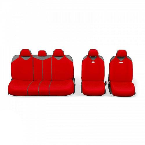 Чехлы-майки Autoprofi R1 - Sport Plus Zippers, цвет: красный, 9 предметовR-902PZ RDЧехлы-майки Autoprofi R1 - Sport Plus Zippers выполнены в спортивном стиле, который придает салону яркие и динамичные черты. Широкая гамма расцветок чехлов позволяет подобрать их к любому автомобильному интерьеру. Эластичный полиэстер изделий плотно облегает поверхность кресел, не выцветает на солнце и не электризуется. В креслах заднего ряда расположено 6 молний.Модель авточехлов-маек оснащена полностью закрытой нижней частью сидений, которая делает чехлы более практичными и износостойкими. Форма чехлов в виде маек позволяет легко и быстро надевать их на кресла любого типа, не прибегая к демонтажу подголовников и подлокотников.Комплектация: 2 чехла кресел переднего ряда, 1 спинка заднего ряда, 1 сиденье заднего ряда, 5 подголовников.Толщина поролона: 2 мм.