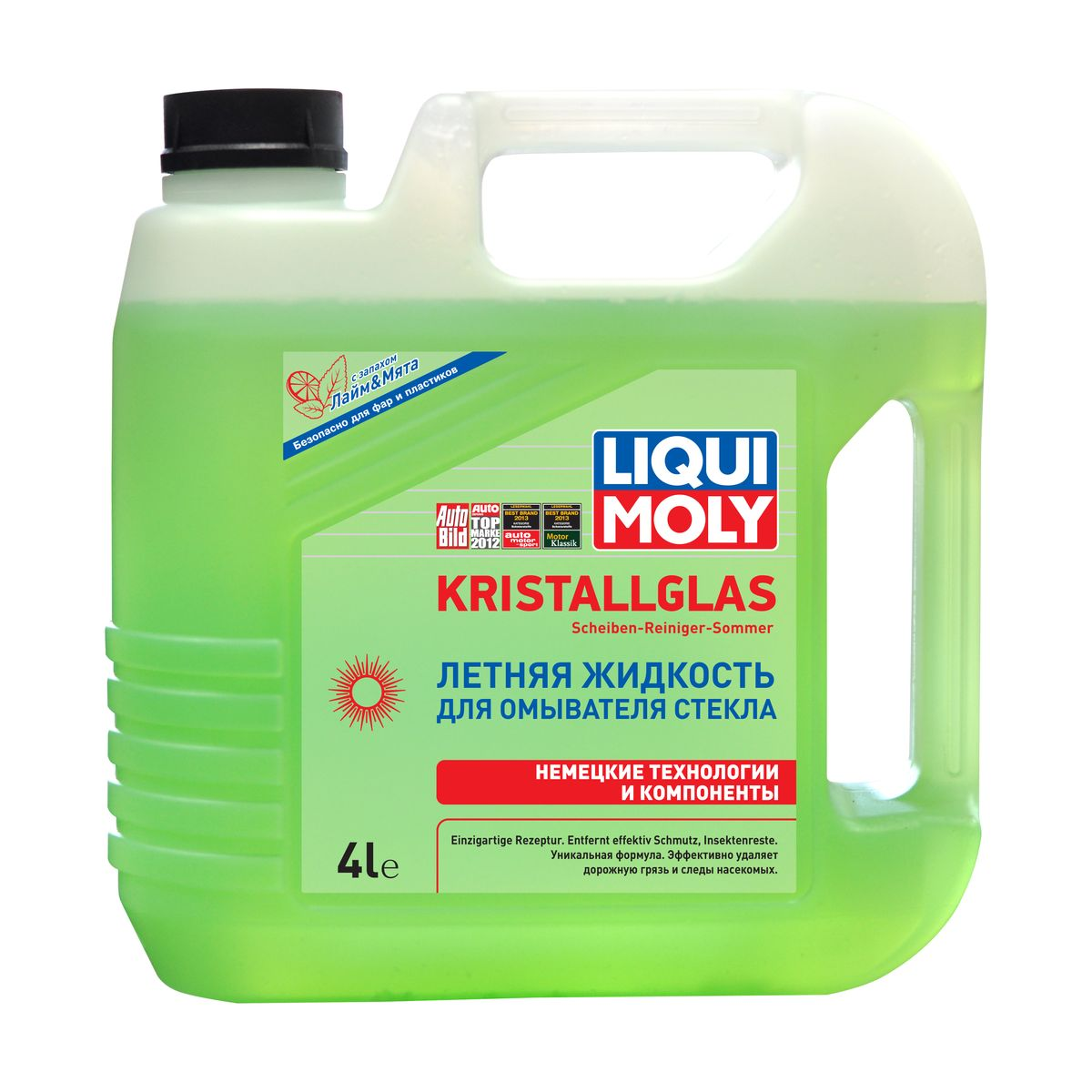 Летняя жидкость для омывателя стекла Liqui Moly Kristallglas, с ароматом лайма и мяты, 4 л присадка liqui moly benzin system pflege для ухода за бензиновой системой впрыска 0 3 л