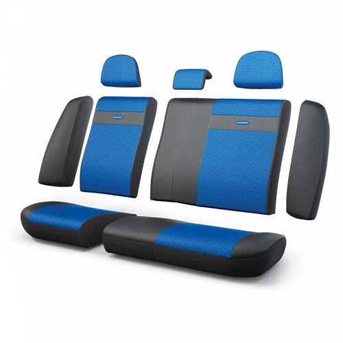 Авточехлы Autoprofi Трансформер, экокожа, цвет: черный, синий, 13 предметовTRS-002G BK/BLЧехлы Autoprofi Трансформер - новая модель автомобильных чехлов. Главной особенностью их стала модульная конструкция, благодаря которой можно укомплектовать 5-, 7- или 8-местный автомобиль. Запатентованная конструкция чехлов с молниями и торцевыми клапанами позволит их адаптировать в автомобилях с любым кузовом - седана, минивена, кроссовера, внедорожника или универсала. Приэтом специальные клапаны закрывают торцы спинок и подлокотников, позволяя их складывать иобеспечивая плотное прилегание даже на нестандартных креслах.Немаловажно, что данная серия чехлов на автомобильное сиденье оснащена распускаемым боковым швом, что позволяет их использовать в автомобилях с боковой подушкой безопасности. Выполнены из экокожи. Из прежних наработок, полюбившихся автомобилистам, в данных чехлах сохранилось крепление крючками и липучками, которые прочно фиксируют чехлы на сиденье. Чехлы для переднего ряда серии Трансформер сочетаются со всеми чехлами заднего ряда этой серии.Особенности:Карманы в спинках передних сидений.Предустановленные крючки на широких резинках.Боковая поддержка спины.Молнии в спинке и сиденье заднего ряда: 8. Толщина поролона: 5 мм.Комплектация: 3 подголовника, 1 спинка заднего ряда, 1 сиденье заднего ряда, 6 клапанов спинки, 2 клапана сиденья.