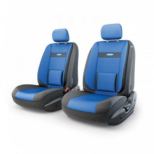 """Авточехлы Autoprofi """"Трансформер Comfort"""", экокожа, цвет: черный, синий, 6 предметов"""