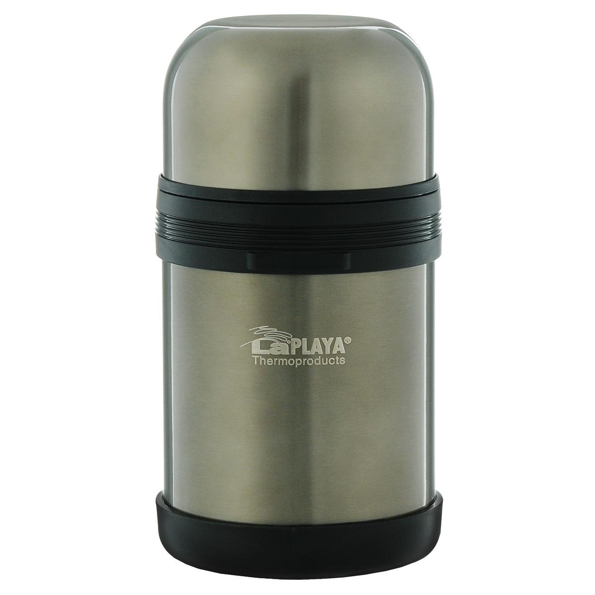 """Термос LaPlaya """"Traditional"""" оснащен двойными стенками с вакуумной изоляцией, которая позволяет сохранять напитки горячими и холодными длительное время. Легкий небьющийся корпус изготовлен из высококачественной нержавеющей стали. Широкая герметичная комбинированная пробка позволяет использовать термос для первых и вторых блюд при полном открывании и для напитков - при вывинчивании внутренней части. Изделие оснащено дополнительной пластиковой чашкой. Откидная ручка и съемный ремень позволяют удобно переносить термос.Термос LaPlaya """"Traditional"""" идеален для вторых блюд, супов и напитков.Диаметр горлышка: 7,5 см.Высота термоса: 20 см."""