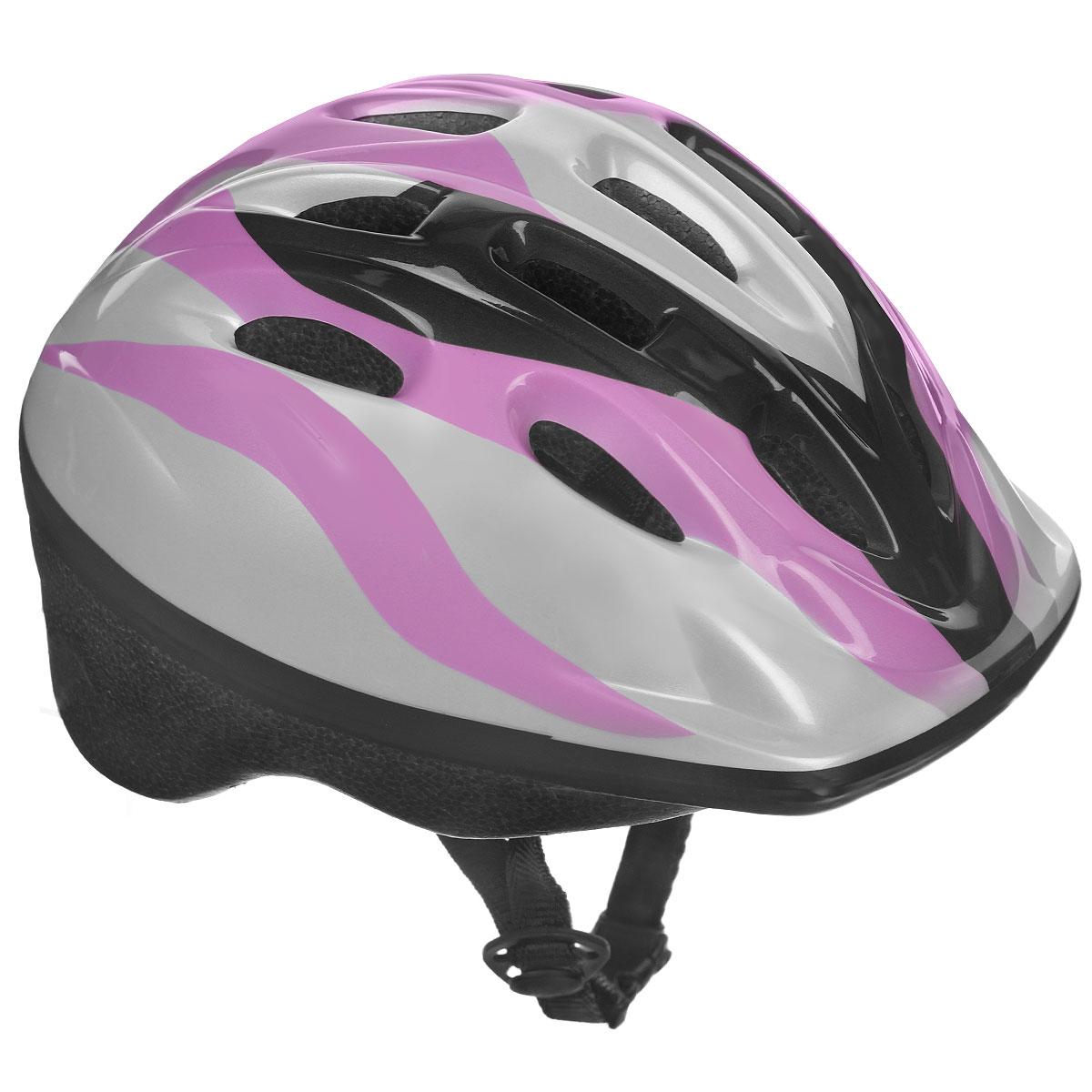 Шлем защитный Action, цвет: белый, черный, розовый. Размер XS (48-51). PWH-40PWH-40Шлем Action послужит отличной защитой для ребенка во время катания на роликах или велосипеде. Он выполнен из плотного вспененного пенопласта, покрытого пластиковой пленкой и отлично сидит на голове, благодаря мягким вставкам на внутренней стороне. Шлем снабжен системой вентиляции и крепится при помощи удобного регулируемого ремня с пластиковым карабином, застегивающимся на подбородке.