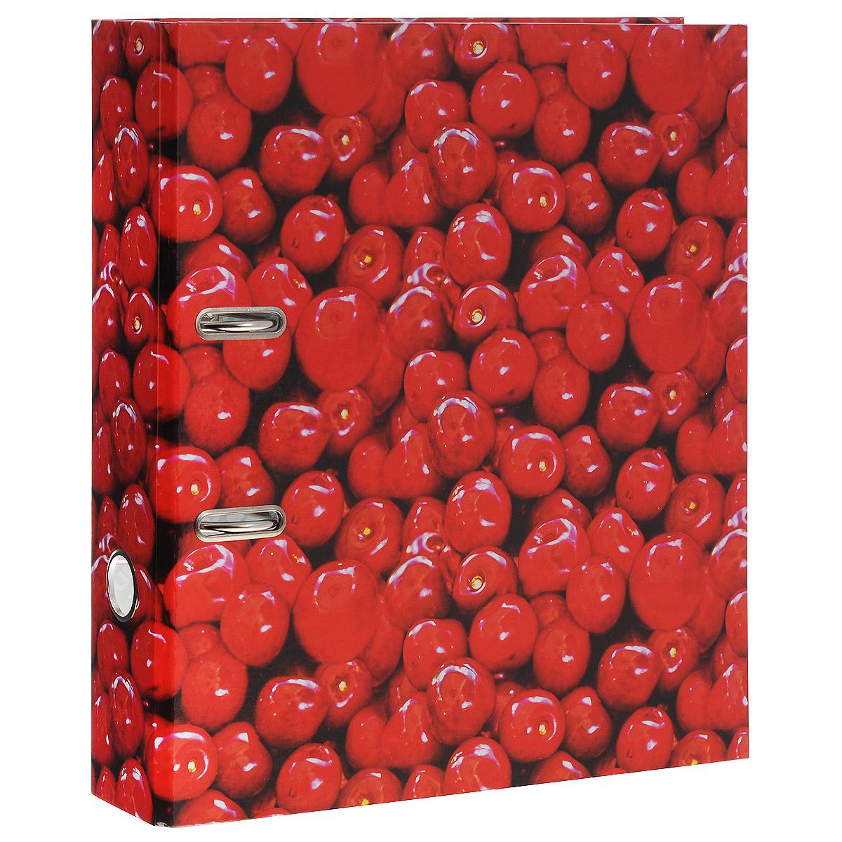 Папка-регистратор Вишня, ширина корешка 70 мм, цвет: красный. IN111103 папка proff next а4 0 40 0 70 мм пластиковая полупрозрачная синяя с резинкой