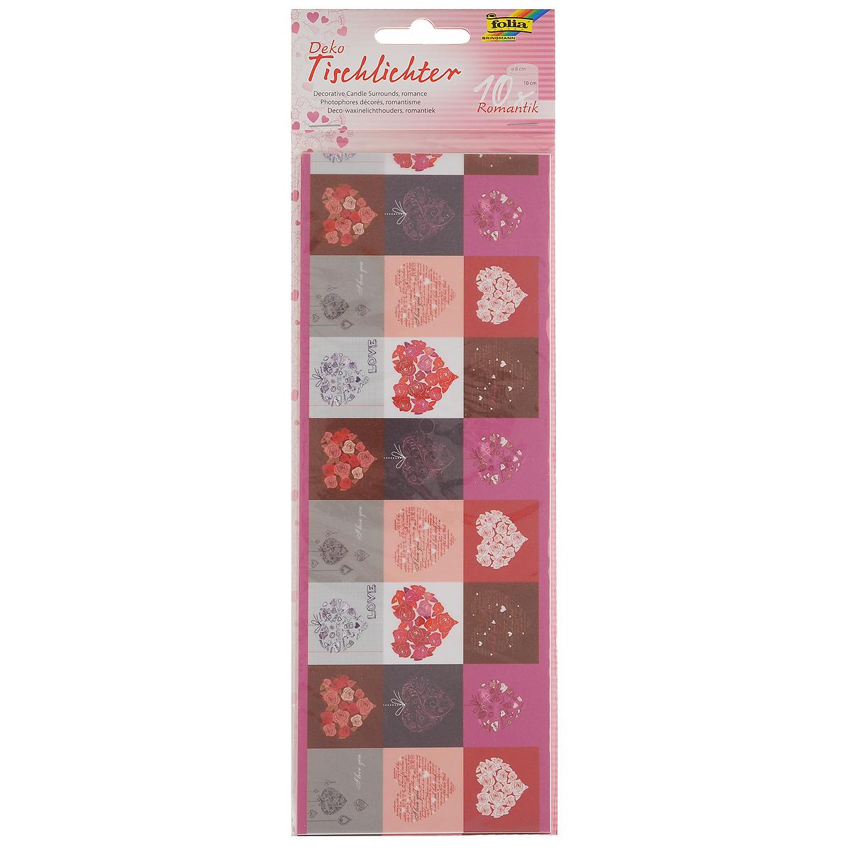 Бумага Folia Романтика для украшения свечей, 10 см х 27 см, 10 листов бумага папиросная folia 50 см х 70 см 10 листов 7708130