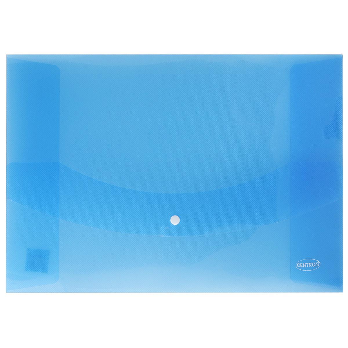 Папка-конверт на кнопке Centrum, цвет: синий. Формат А380626_синийПапка-конверт на кнопке Centrum - это удобный и функциональный офисный инструмент, предназначенный для хранения и транспортировки рабочих бумаг и документов формата А3. Папка изготовлена из полупрозрачного пластика, закрывается клапаном на кнопке.Папка-конверт - это незаменимый атрибут для студента, школьника, офисного работника. Такая папка надежно сохранит ваши документы и сбережет их от повреждений, пыли и влаги.
