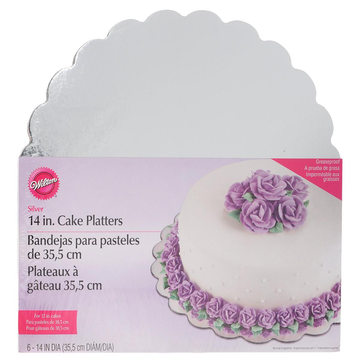 Основа для торта Wilton, круглая, цвет: серебристый, диаметр 35,5 см, 6 штWLT-2104-1167Основа Wilton выполнена из гофрированного картона с жиронепроницаемой поверхностью и оформлена волнистым краем. Используется для сервировки тортов, пиццы, небольших праздничных угощений, закусок и т.п. В наборе - 6 основ.Диаметр: 35,5 см. Толщина: 1,5 мм.