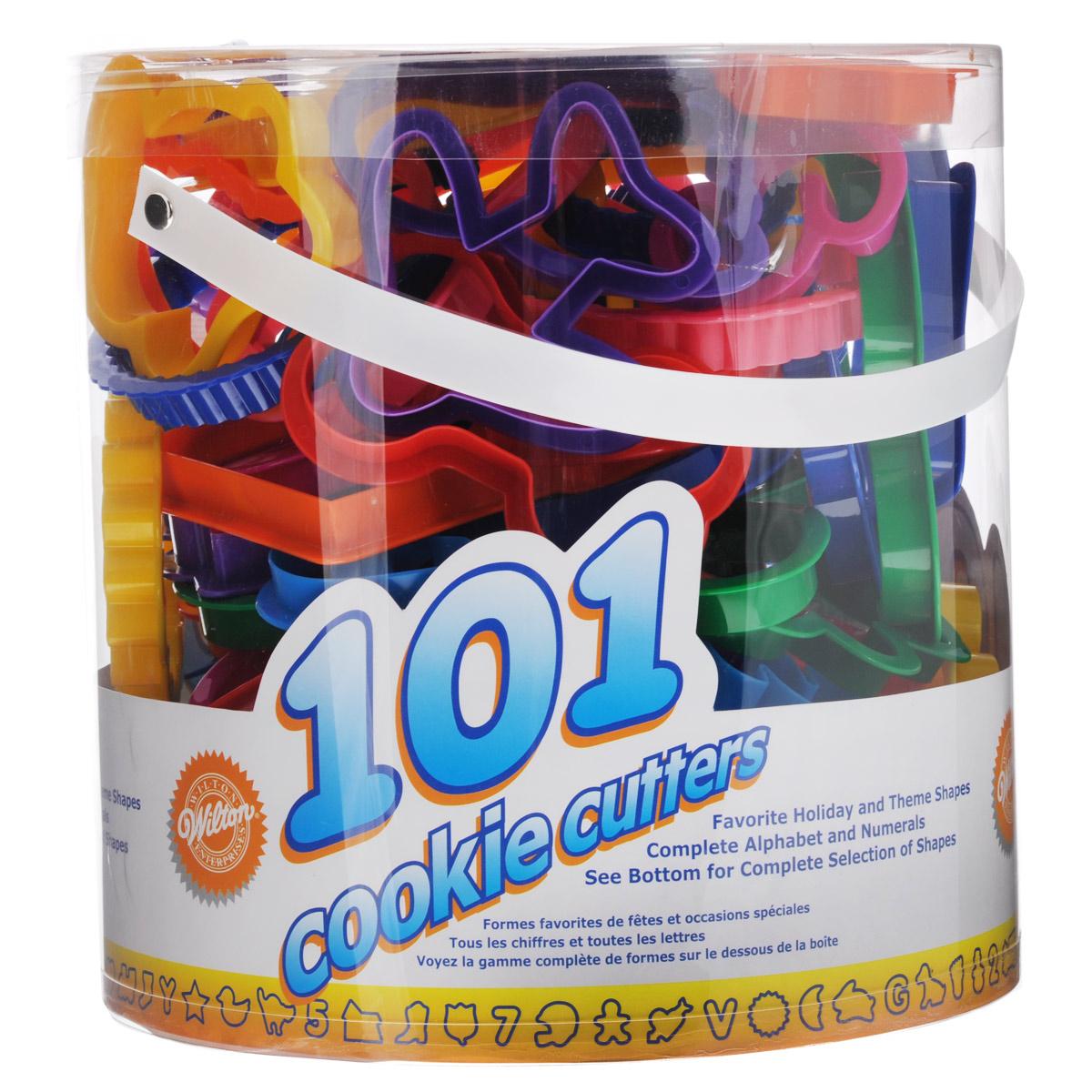 Набор форм для вырезания печенья Wilton, 101 штWLT-2304-1050Набор для вырезания печенья Wilton, выполненный из пищевого пластика, состоит из 101 формы. Изделия выполнены в виде букв, сердечек, цифр, животных и другие. Формы предназначены для создания печенья, сладких украшений, бутербродов, а также их можно использовать как трафареты для поделок не из пищевых материалов. С такими формами можно сделать множество интересных фигурок и изделий. Средний размер форм: 9 см х 9 см. Высота форм: 1,5 см.Комплектация: 101 шт.