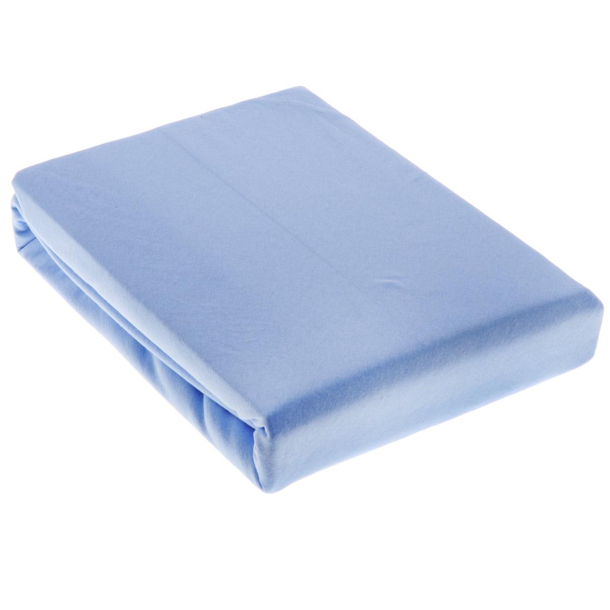 Простыня OL-Tex Джерси, на резинке, цвет: голубой, 180 х 200 х 20 смПтр-180Простыня OL-Tex Джерси изготовлена из гладкокрашеного трикотажного полотна, не имеет швов. По всему периметру простыня снабжена резинкой. Изделие легко одевается на матрасы высотой до 20 см. Идеально подходит в качестве наматрасника. Рекомендации по уходу:- Ручная и машинная стирка при температуре 30°С.- Гладить при средней температуре до 150°С.- Не отбеливать. - Можно сушить и отжимать в стиральной машине. - Химчистка запрещена.