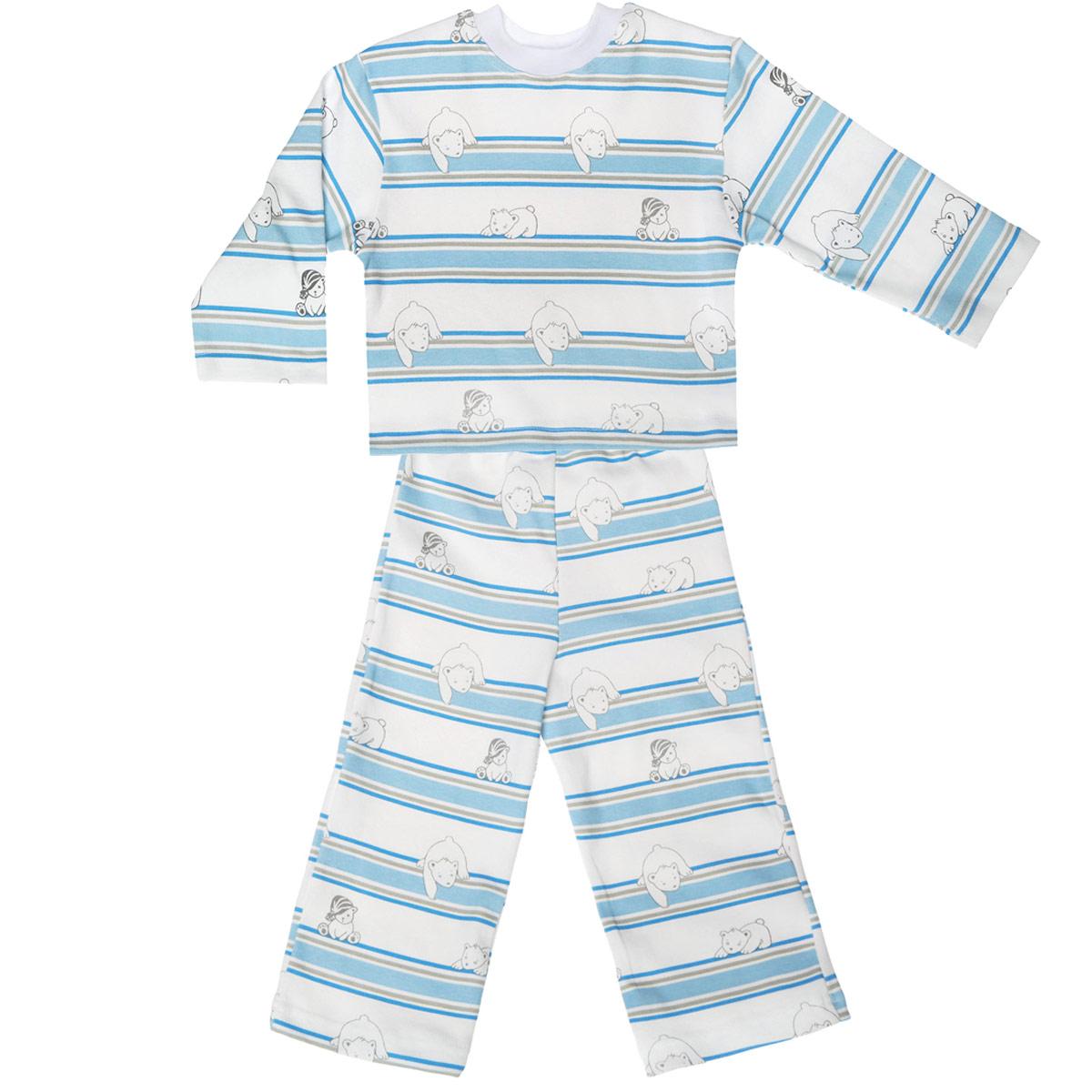 Пижама детская Трон-плюс, цвет: белый, голубой. 5584_мишка, полоска. Размер 98/104, 3-5 лет5584_мишка, полоскаУютная детская пижама Трон-плюс, состоящая из джемпера и брюк, идеально подойдет вашему ребенку и станет отличным дополнением к детскому гардеробу. Изготовленная из натурального хлопка, она необычайно мягкая и легкая, не сковывает движения, позволяет коже дышать и не раздражает даже самую нежную и чувствительную кожу ребенка. Джемпер с длинными рукавами и круглым вырезом горловины оформлен ненавязчивым принтом в полоску, а также изображением медвежат. Вырез горловины дополнен трикотажной эластичной резинкой.Брюки на талии имеют эластичную резинку, благодаря чему не сдавливают живот ребенка и не сползают. Оформлены брючки также ненавязчивым принтом в полоску и изображением медвежат. В такой пижаме ваш ребенок будет чувствовать себя комфортно и уютно во время сна.