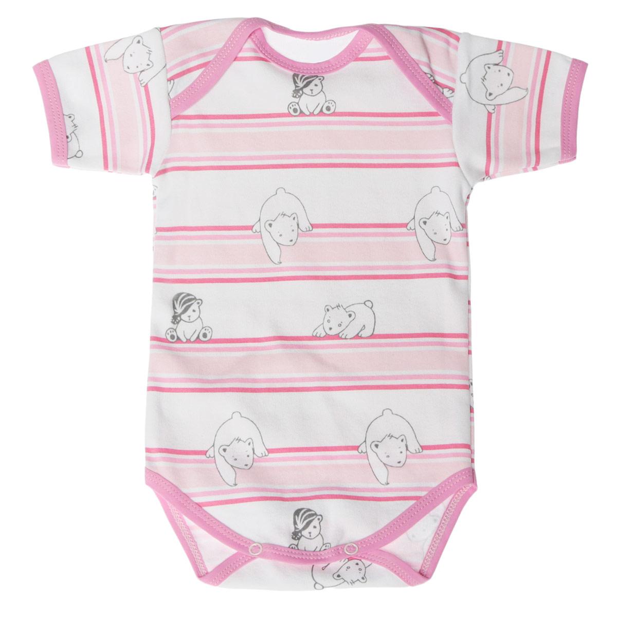 Боди-футболка детская Трон-плюс, цвет: белый, розовый. 5873_мишка, полоска. Размер 56, 1 месяц5873_мишка, полоскаУдобное детское боди-футболка Трон-плюс послужит идеальным дополнением к гардеробу вашего крохи, обеспечивая ему наибольший комфорт. Боди с короткими рукавами и круглым вырезом горловины изготовлено из интерлока -натурального хлопка, благодаря чему оно необычайно мягкое и легкое, не раздражает нежную кожу ребенка и хорошо вентилируется, а эластичные швы приятны телу младенца и не препятствуют его движениям. Удобные запахи на плечах и кнопки на ластовице помогают легко переодеть ребенка или сменить подгузник. Вырез горловины, запахи, низ рукавов и ластовица дополнены бейкой. Оформлена модель принтом в полоску, а также изображениями медвежат. Боди полностью соответствует особенностям жизни ребенка в ранний период, не стесняя и не ограничивая его в движениях. В нем ваш ребенок всегда будет в центре внимания.