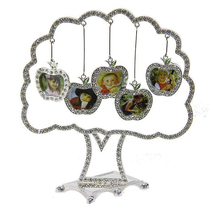 Фоторамка Дерево на 5 фотографий. 264005264005Оригинальная рамка для фотографий выполнена в виде дерева, на ветвях которого прикреплены небольшие яблоки-рамочки. На таком дереве вы сможете разместить фото всей своей семьи. Такая рамка послужит оригинальным и практичным подарком.