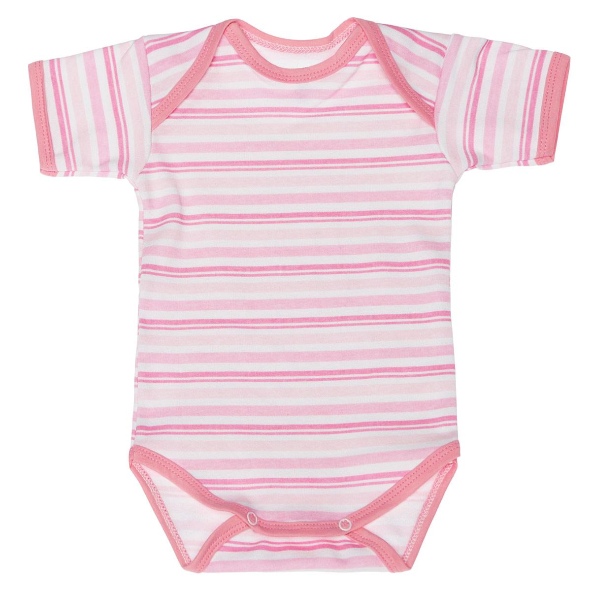 Боди-футболка детская Трон-плюс, цвет: розовый, белый. 5873_полоска. Размер 80, 12 месяцев