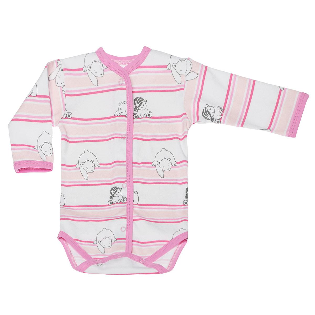 Боди детское Трон-плюс, цвет: белый, розовый. 5878_мишка, полоска. Размер 80, 12 месяцев
