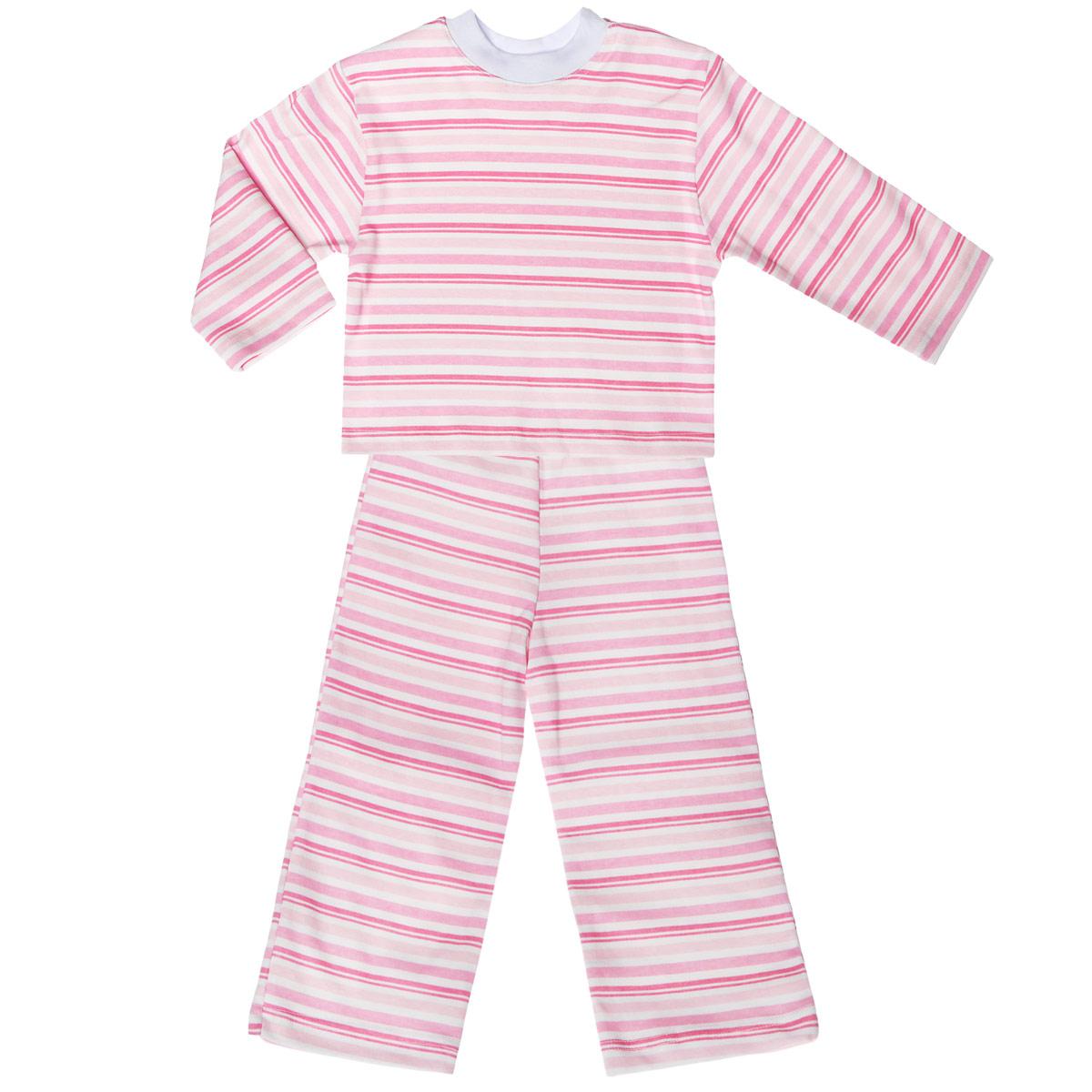 Пижама детская Трон-плюс, цвет: розовый, белый. 5584_полоска. Размер 110/116, 4-8 лет5584_полоскаУютная детская пижама Трон-плюс, состоящая из джемпера и брюк, идеально подойдет вашему ребенку и станет отличным дополнением к детскому гардеробу. Изготовленная из натурального хлопка, она необычайно мягкая и легкая, не сковывает движения, позволяет коже дышать и не раздражает даже самую нежную и чувствительную кожу ребенка. Джемпер с длинными рукавами и круглым вырезом горловины оформлен принтом в полоску. Вырез горловины дополнен трикотажной эластичной резинкой. Брюки на талии имеют эластичную резинку, благодаря чему не сдавливают живот ребенка и не сползают. Оформлены брючки также принтом в полоску. В такой пижаме ваш ребенок будет чувствовать себя комфортно и уютно во время сна.