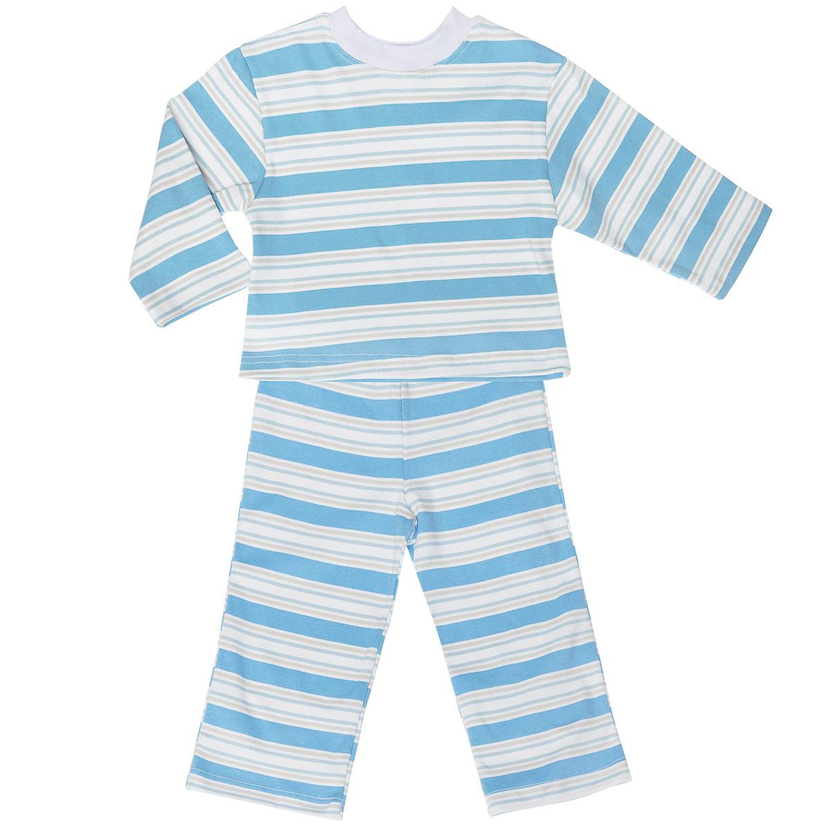 Пижама детская Трон-плюс, цвет: голубой, белый. 5584_полоска. Размер 98/104, 3-5 лет5584_полоскаУютная детская пижама Трон-плюс, состоящая из джемпера и брюк, идеально подойдет вашему ребенку и станет отличным дополнением к детскому гардеробу. Изготовленная из натурального хлопка, она необычайно мягкая и легкая, не сковывает движения, позволяет коже дышать и не раздражает даже самую нежную и чувствительную кожу ребенка. Джемпер с длинными рукавами и круглым вырезом горловины оформлен принтом в полоску. Вырез горловины дополнен трикотажной эластичной резинкой. Брюки на талии имеют эластичную резинку, благодаря чему не сдавливают живот ребенка и не сползают. Оформлены брючки также принтом в полоску. В такой пижаме ваш ребенок будет чувствовать себя комфортно и уютно во время сна.
