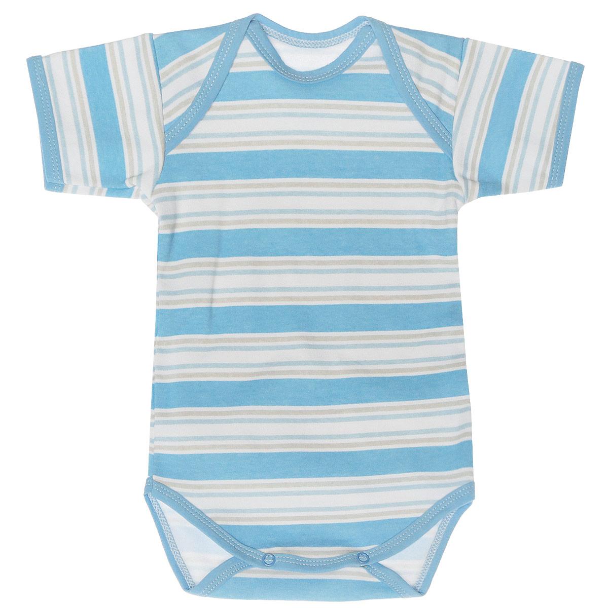 Боди-футболка детская Трон-плюс, цвет: голубой, белый. 5873_полоска. Размер 62, 3 месяца5873_полоскаУдобное детское боди-футболка Трон-плюс послужит идеальным дополнением к гардеробу вашего крохи, обеспечивая ему наибольший комфорт. Боди с короткими рукавами и круглым вырезом горловины изготовлено из интерлока -натурального хлопка, благодаря чему оно необычайно мягкое и легкое, не раздражает нежную кожу ребенка и хорошо вентилируется, а эластичные швы приятны телу младенца и не препятствуют его движениям. Удобные запахи на плечах и кнопки на ластовице помогают легко переодеть ребенка или сменить подгузник. Вырез горловины, запахи, низ рукавов и ластовица дополнены бейкой. Оформлена модель принтом в полоску. Боди полностью соответствует особенностям жизни ребенка в ранний период, не стесняя и не ограничивая его в движениях. В нем ваш ребенок всегда будет в центре внимания.
