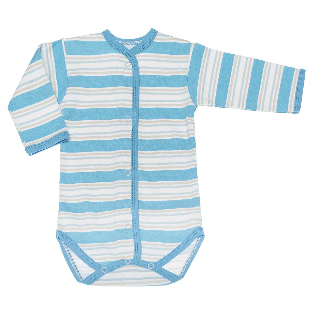 Боди детское Трон-плюс, цвет: голубой, белый. 5878_полоска. Размер 68, 6 месяцев5878_полоскаУдобное детское боди Трон-плюс послужит идеальным дополнением к гардеробу вашего крохи, обеспечивая ему наибольший комфорт. Боди с длинными рукавами и круглым вырезом горловины изготовлено из интерлока -натурального хлопка, благодаря чему оно необычайно мягкое и легкое, не раздражает нежную кожу ребенка и хорошо вентилируется, а эластичные швы приятны телу младенца и не препятствуют его движениям. Удобные застежки-кнопки спереди и на ластовице помогают легко переодеть ребенка или сменить подгузник. Вырез горловины, планка, низ рукавов и ластовица дополнены бейкой. Оформлена модель принтом в полоску. Боди полностью соответствует особенностям жизни ребенка в ранний период, не стесняя и не ограничивая его в движениях. В нем ваш младенец всегда будет в центре внимания.