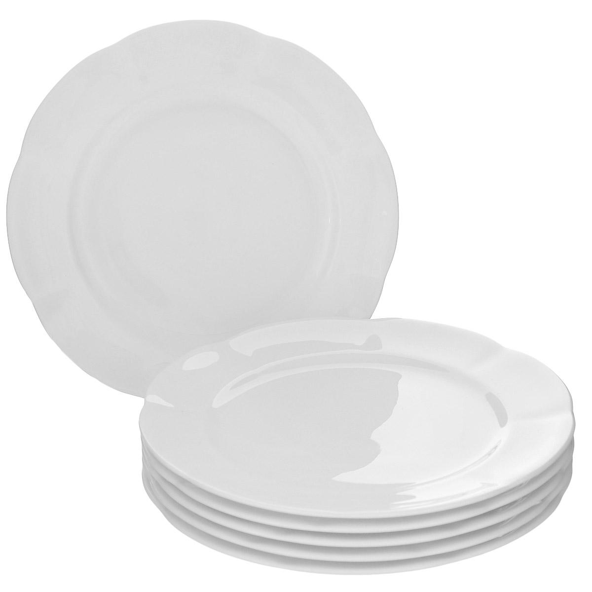"Набор десертных тарелок Royal Bone China ""White"", диаметр 16 см, 6 шт"