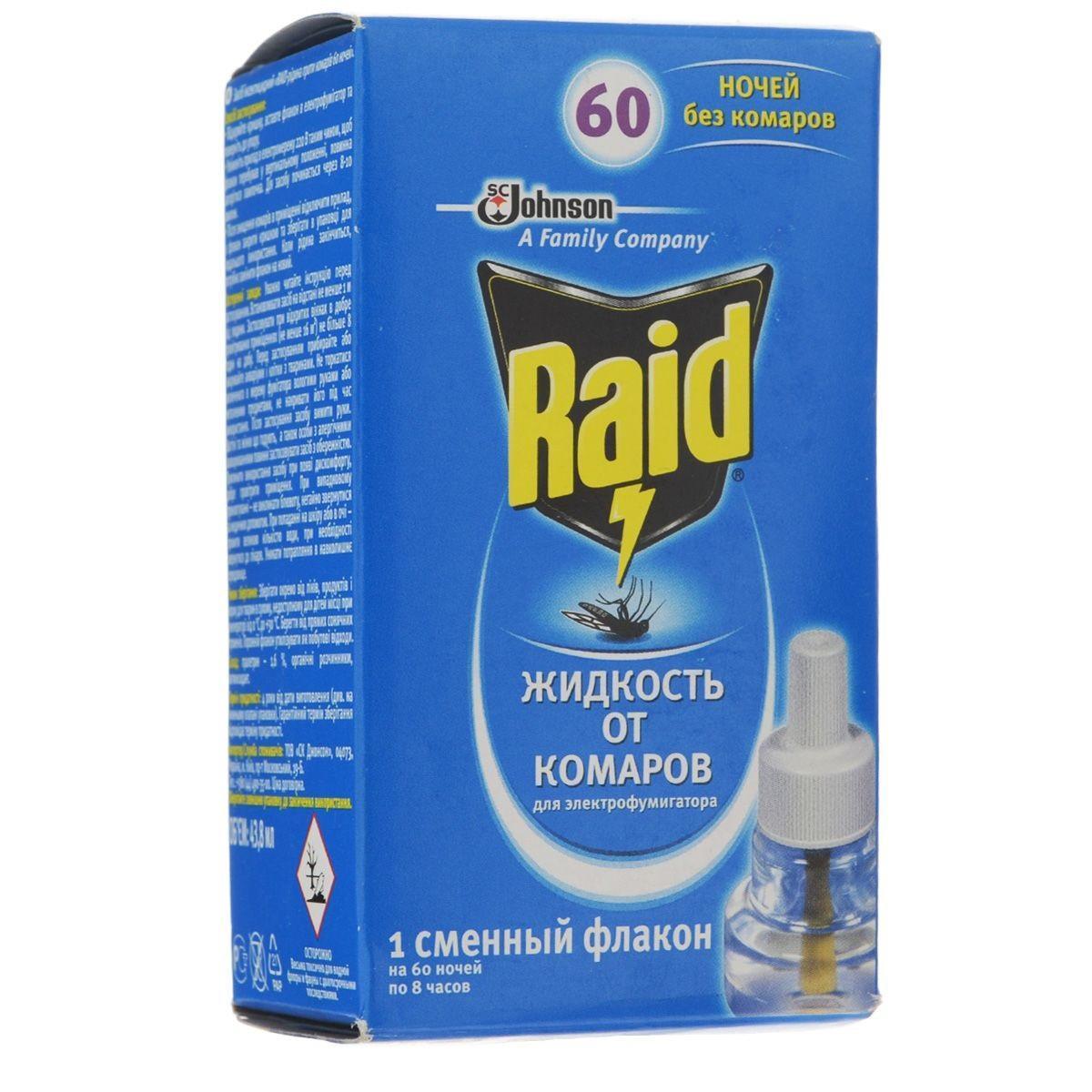 Жидкость для фумигатора от комаров Raid, на 60 ночей средства от насекомых picnic family жидкость от комаров для фумигатора 45 ночей 30 мл