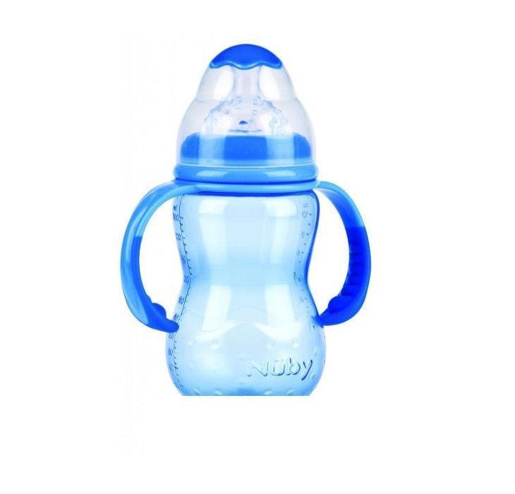 NUBY Бутылочка с антиколиковой системой, 300 мл, цвет: голубой. ID1095 nuby бутылочка с широким горлом nuby 300 мл