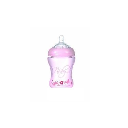 NUBY Бутылочка с антиколиковой системой, 240 мл, цвет: розовый. NT68008 nuby полипропиленовая бутылочка с принтами nuby 240 мл