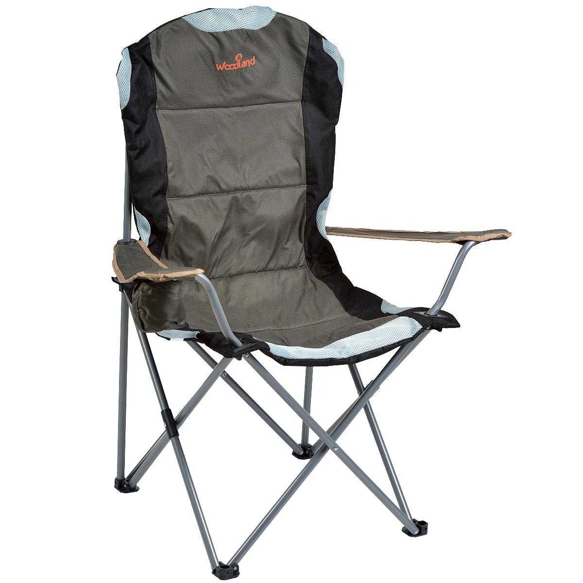 Кресло складное Woodland Deluxe, 63 см x 63 см x 110 см0036502Складное кресло Woodland Deluxe предназначено для создания комфортных условий в туристических походах, охоте, рыбалке и кемпинге.Особенности:Компактная складная конструкция.Прочный стальной каркас с покрытием, диаметр 18 мм.Удобные подлокотники с отделением для напитка.Водоотталкивающее ПВХ покрытие ткани Oxford 600D.В комплекте чехол для перевозки.