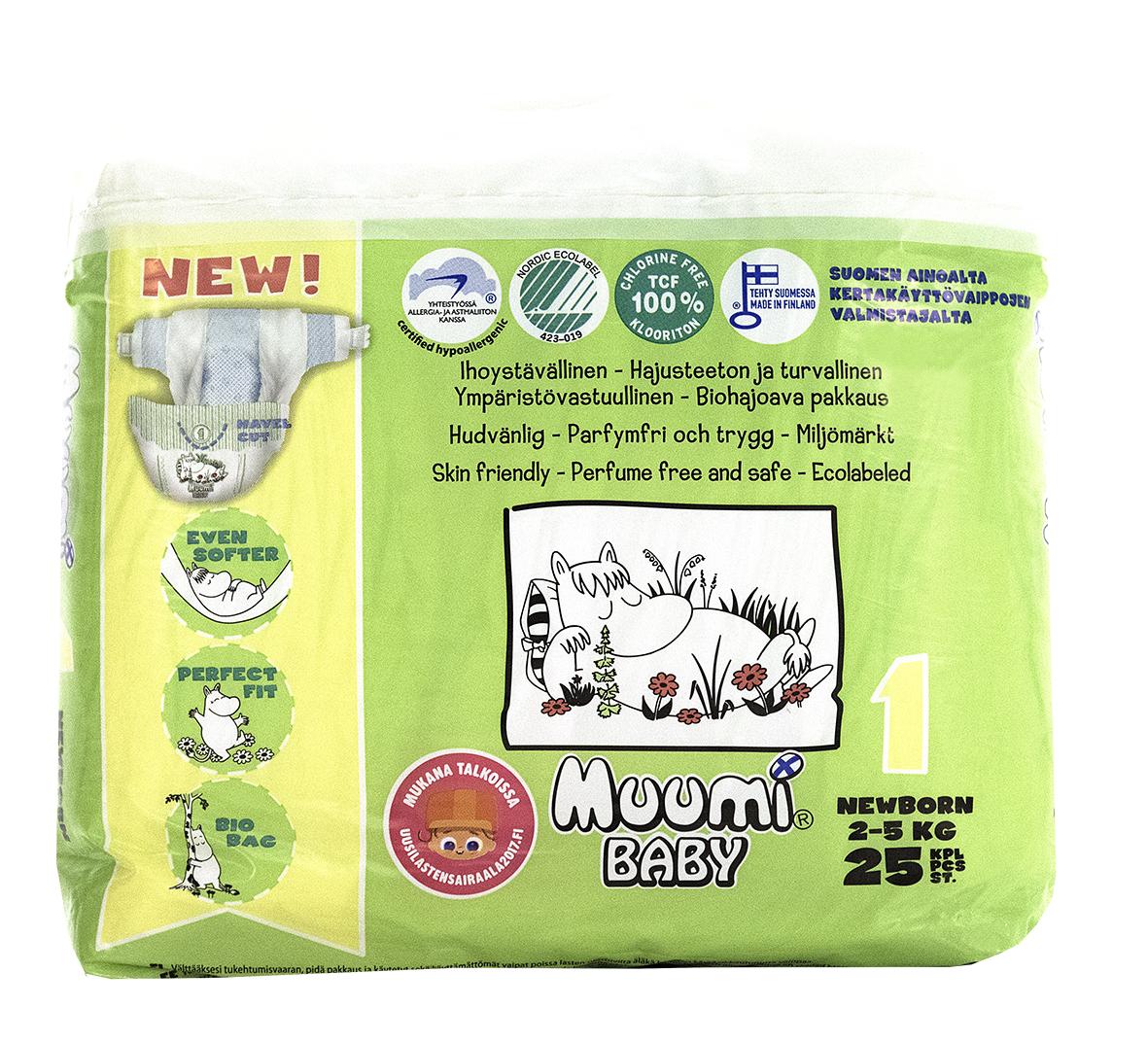Muumi Подгузники Бейби Ньюборн 1, 2-5 кг, 25 шт