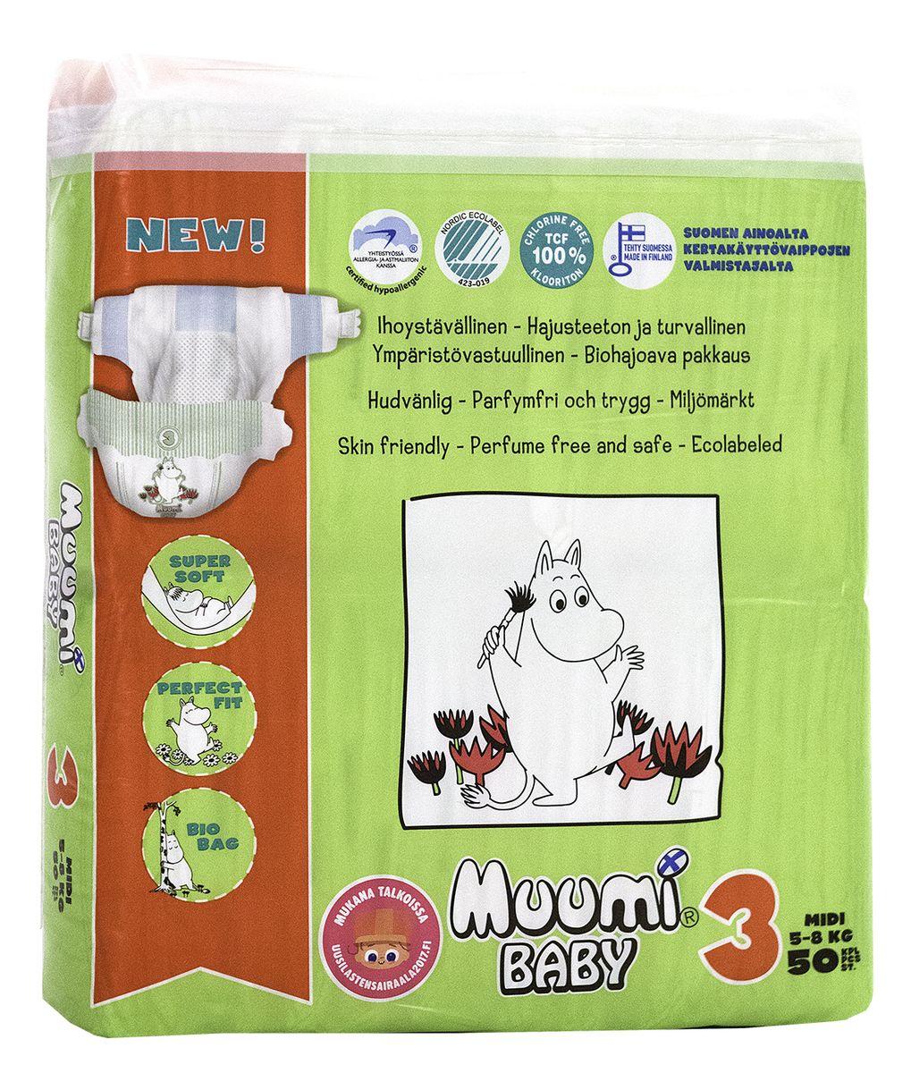 Muumi Подгузники Бейби Миди 3, 5-8 кг, 50 шт greenty подгузники 5 10 кг 48 шт