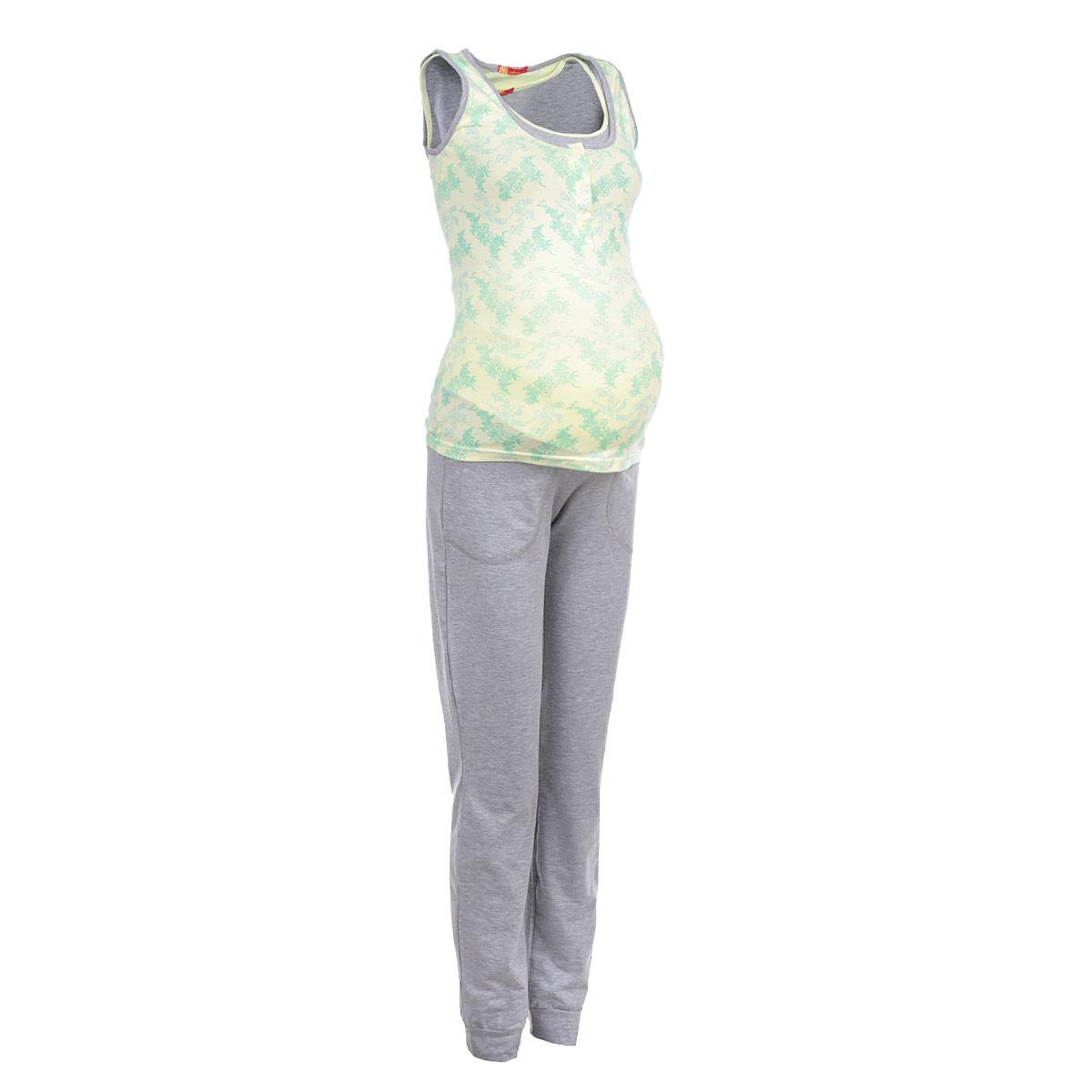 Пижама для беременных и кормящих Мамин Дом Sunshine, цвет: серый, салатовый. 24138. Размер 50