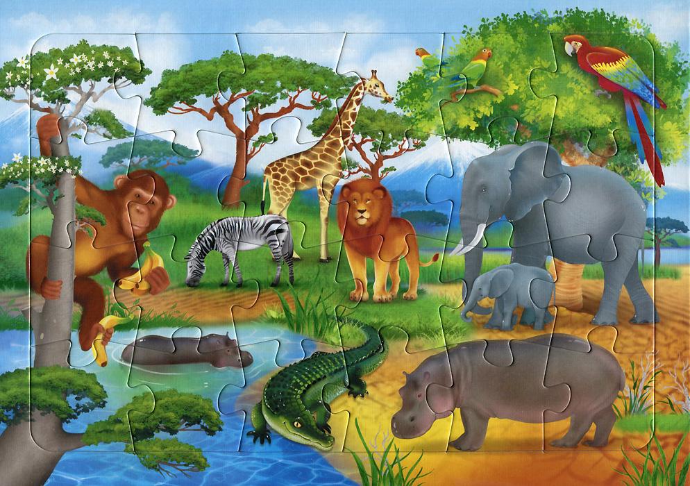 В Африке. Пазл на подложке