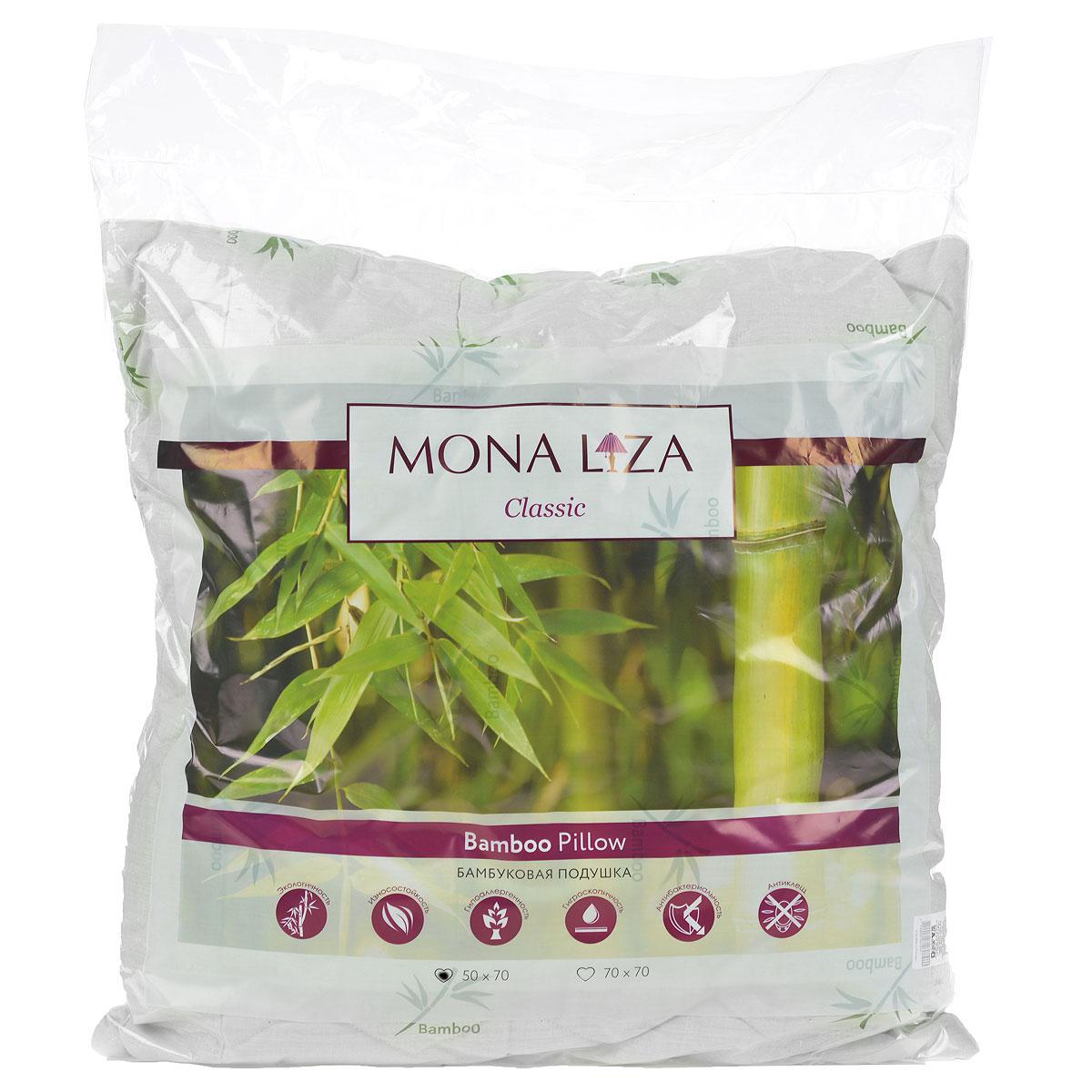 Подушка Mona Liza, цвет: белый, 50 х 70 см. 539414539414Подушка Mona Liza подарит вам незабываемое чувство комфорта и умиротворения. Чехол выполнен из поликоттона, украшен изображением стеблей бамбука, фигурной стежкой и кантом по краю. В качестве наполнителя используется бамбуковое волокно, которое обладает удивительным балансом различных свойств и удовлетворяет требования даже самого изысканного покупателя. Такой наполнитель сохраняет ценные свойства растения и одновременно обеспечивает легкость изделия, мягкость и долговечность. Высокосиликонизированное волокно Royalton придает изделию упругость, быстро восстанавливает форму после смятия, имеет высокую стойкость к ее сохранению с течением времени. Свойства подушки с бамбуком: - Наполнитель обладает природным свойством антибактериальности, как в природе, так и в быту это волокно не повреждается грибками, плесенью и вредителями; это свойство сохраняется при многократных стирках. - Прочность и мягкость: плотность бамбукового волокна в 2 раза выше, чем у хлопка, при этом оно сохраняет устойчивость к механическим воздействиям в сухом и мокром состоянии; в то же время оно мягче хлопка, сходно по структуре с шелком. - Обладает активным влагопоглощением, не рекомендуется для использования в климатических зонах и отдельных помещениях с повышенной влажностью, людям с повышенной влажностью тела. - Не удерживает посторонние запахи, является природным дезодорантом. - Практически не содержит примесей вредных химических соединений, потому что производится путем дробления стебля, обработки его паром и биоферментами. Подушка проста в уходе, подходит для машинной стирки, быстро сохнет. Материал чехла: ткань (50% хлопок, 50% полиэстер), пласт (35% бамбук, 65% полиэстер). Наполнитель: 100% полиэстер.