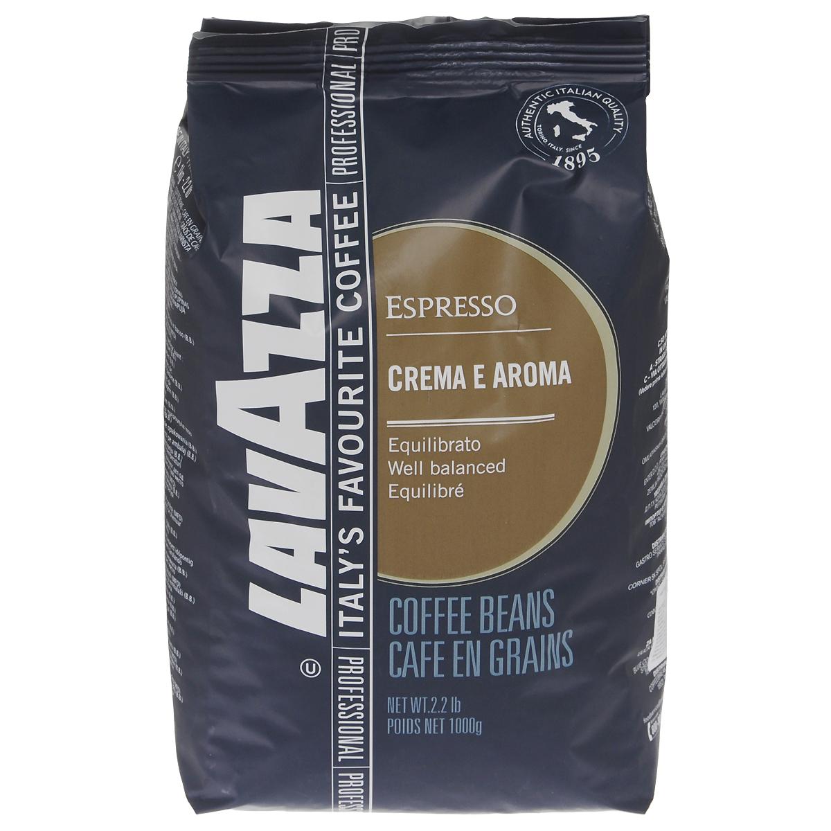 Lavazza Crema e Aroma Espresso кофе в зернах, 1 кг lavazza crema e aroma 1000 beans крем арома зерно вакуумная упаковка