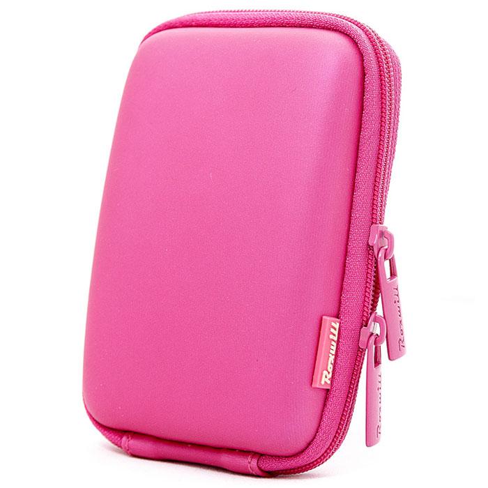 Roxwill C10, Pink чехол для фото- и видеокамерC10 pinkRoxwill C10 - надежный чехол для компактных фотокамер. Он гарантированно защитит вашу камеру от случайных ударов и царапин, а также от пыли и влаги. Изделие изготовлено из EVA (вспененная резина). Данный материал не подлежит воздействию агрессивных веществ и предохраняет фотоаппарат при падении. Для переноски предусмотрен регулируемый шейный ремешок и возможность крепления на поясном ремне.