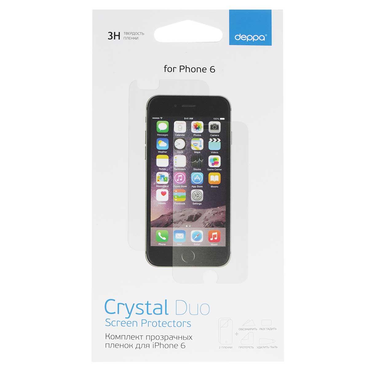 Deppa комплект защитных пленок для Apple iPhone 6, Clear61375Комплект прозрачных пленок Deppa защитит iPhone 6 от царапин. Пленки изготовлены из трехслойного японского материала PET.