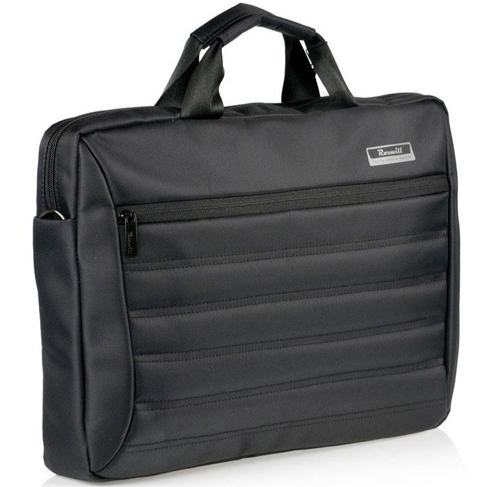 Roxwill DC60, Black cумка для ноутбука 15.6DC60 blackСумка Roxwill DC60 для ноутбуков диагональю до 15.6. Основной материал - высококачественный нейлон, который надежно защитит содержимое от пыли, влаги и царапин. Для защиты от ударов сумка имеет подкладку из синтетического материала. Имеет несколько карманов для аксессуаров и отдел для документов, а также два внешних кармана.Двойная застежка молния для удобного доступа к ноутбукуМеталлическая фурнитураРегулируемый съемный плечевой ремень.Крепление на багажную сумку-тележку