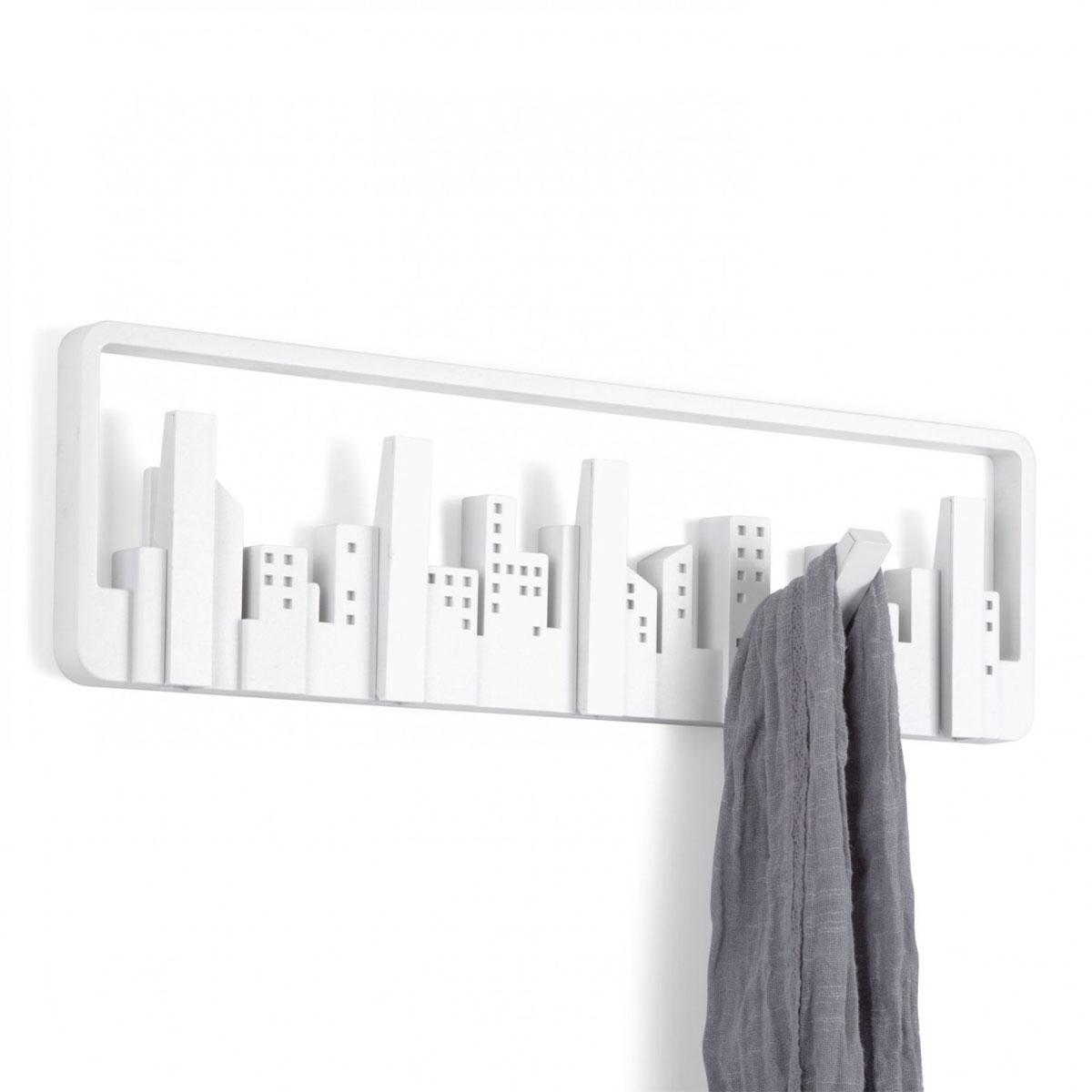 Вешалка настенная Umbra Skyline, цвет: белый, 5 крючков