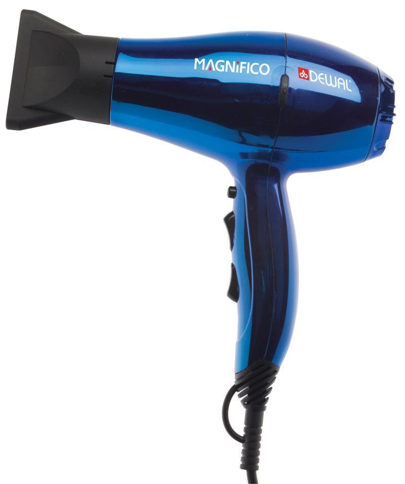 Dewal Magnifico 03-007, Blue фен03-007 BlueMagnifico 03-007 - тихий, компактный, легкий и, в то же время, мощный инструмент. Сочетание этих характеристик делает данную модель идеальной для использования как в профессиональных, так и в личных целяхФен оснащен генератором ионов с отрицательным зарядом. Функция ионизации делает волосы мягкими и блестящими, восстанавливает их структуру, улучшает увлажнение и расчесывание волос, снимает статическое электричество. Отрицательные ионы воздействуют на частицы воды во влажных волосах. Эти частицы дробятся ионами и поглощаются волосами, что улучшает их увлажнение. Волосы заряжаются ионами. Структура волос восстанавливается, они становятся гладкими и легко расчесываются, достигается эффект бальзама и кондиционирования. При необходимости, лучше впитывают косметические средства