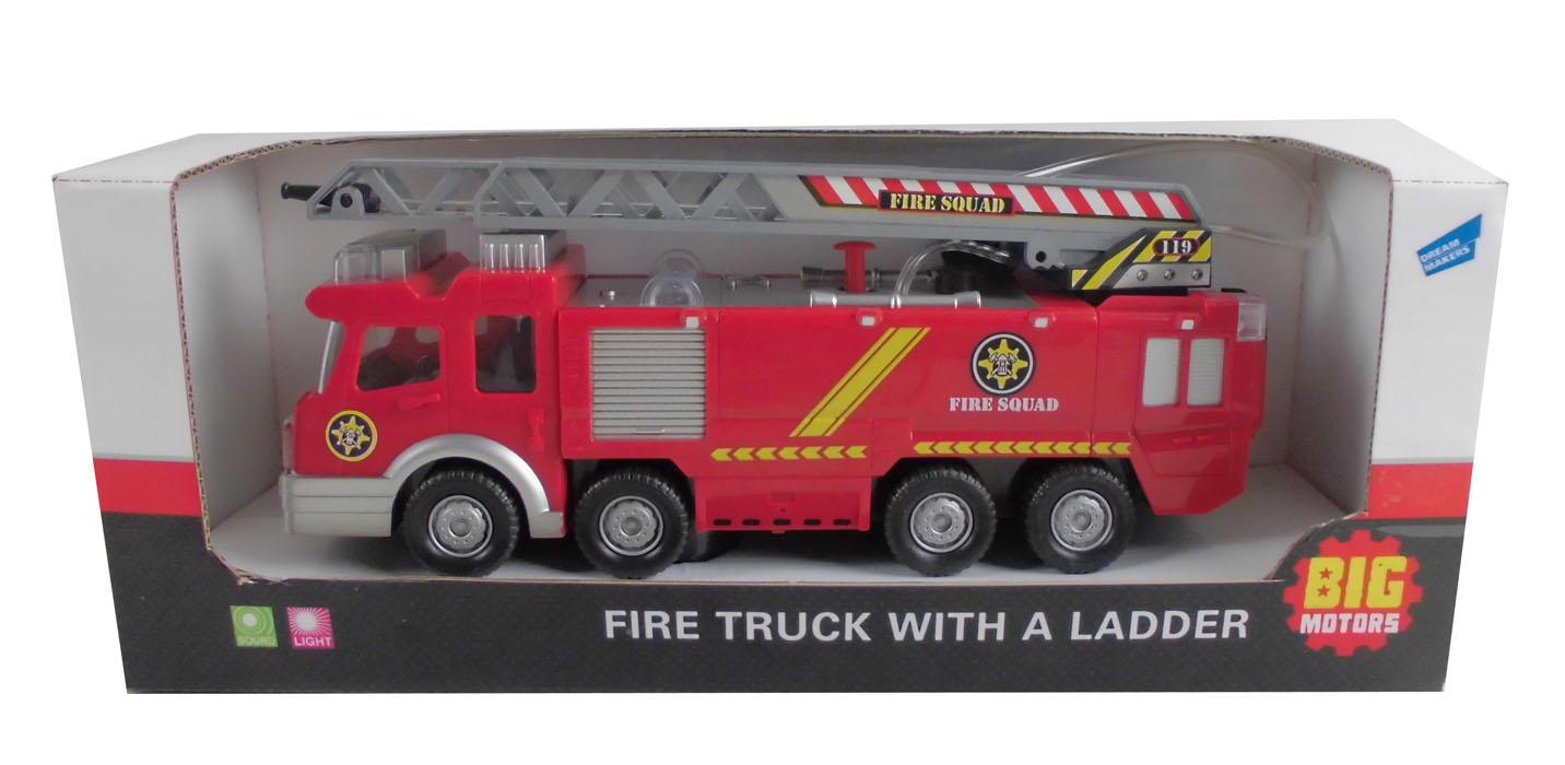 Big Motors Пожарная машина с лестницей машина пламенный мотор дорожные работы со световыми и звуковыми эффектами