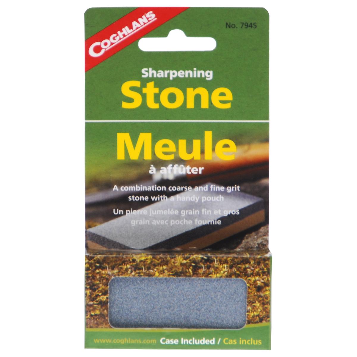 Камень точильный Coghlans, двухсторонний, с футляром, 7,5 см х 3,5 см7945Двухсторонний точильный камень Coghlans предназначен для правки ножей. Имеет две поверхности с разной зернистостью абразива: P120 (серая сторона) для предварительной заточки и P400 (бежевая сторона) для финишной доводки. Благодаря этому точильный камень сочетает в себе сразу 2 инструмента для заточки. Изделие имеет малые вес и размер, что очень удобно в походе. В комплекте - виниловый футляр.Размер точильного камня: 7,5 см х 3,5 см х 1 см. Размер футляра: 9,5 см х 6,2 см.