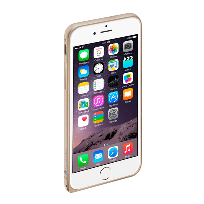 бампер puro bumper для iphone 6 бирюзовый ipc647bumperacqua Deppa Alum Bumper чехол-бампер для iPhone 6, Gold
