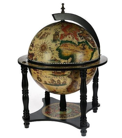Глобус-бар напольный, диаметр 42 см47029Глобус-бар напольныйдиаметром 42 см - это достойный подарок и солидное решение для придания изысканного вкуса помещению. Он впишется практически в любой интерьер в офисе, квартире или в загородном доме. Глобус является не только частью интерьера, но и практичной вещью для хранения спиртных напитков, которая создаст возле себя неповторимую атмосферу.