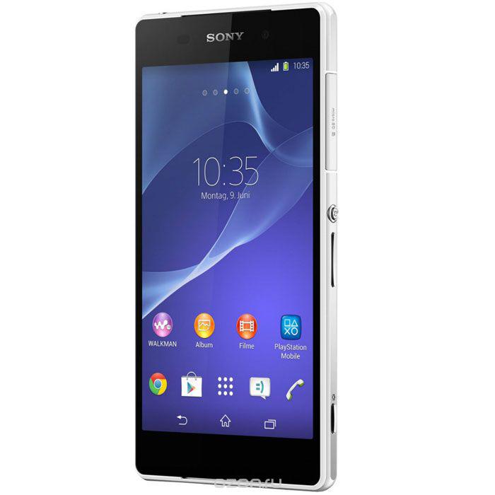 Sony Xperia Z2, WhiteD6503Смартфон в водостойком корпусе Sony Xperia Z2 с камерой 20.7 Мпикс и встроенным LTE/4G-модемом.Сверхмощный процессор Qualcomm Snapdragon 801:Последняя версия программного обеспечения Sony сочетается с новейшим сверхмощным процессором Qualcomm Snapdragon 801. Этот современный четырехъядерный процессор на 75% быстрее процессора S4 Pro и позволяет реализовать максимальную мощность и скорость при невероятно долгом времени работы от аккумулятора. Запускайте одновременно множество приложений, выполняйте поиск в Интернете при минимальном времени загрузки и просматривайте видео в потоковом режиме без задержек. Благодаря асинхронной архитектуре каждое ядро процессора питается независимо от остальных. Таким образом, вы получаете именно ту мощность, которая нужна вам в данный момент, не расходуя заряд аккумулятора без необходимостиНезабываемые впечатления от просмотра:Xperia Z2 создан с применением новейших телевизионных технологий Sony, оптимизированных для мобильных устройств. В нём используется ультрасовременная светодиодная технология Live Colour для усиления глубины и богатства оттенков, которая применяется только в дисплеях Sony Mobile. Матрица IPS обеспечивает широкий угол обзора и точную цветопередачу при любом наклоне. Большой 5,2-дюймовый дисплей TRILUMINOS Display для мобильных устройств с поддержкой формата Full HD и технологии X-Reality имеет разрешение 1920 x 1080 и прогрессивную развертку, что делает фотографии удивительно четкими и позволяет избежать ступенчатых краев. А если прибавить к этому плотность пикселей 423 ppi, становится ясно: вы можете быть уверены, что изображение на вашем смартфоне всегда будет невероятно четким и ярким.Дисплей TRILUMINOS для мобильных устройств:Технология TRILUMINOS Display расширяет спектр передаваемых цветов, делая изображение богаче и реалистичнее. В этой технологии используются светодиоды, которые излучают более чистые красные и зеленые цвета. Это позволяет плавнее передавать цветовой спектр и точнее