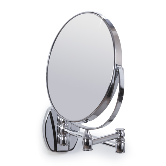 Зеркало настенное Izolde/Изольда, двухстороннее, диаметр 17 см11243Настенное двухстороннее зеркало Izolde в оправе из хромированной стали, оснащено двумя поверхностями, одна из которых дает обычное отражение, другая - с трехкратным увеличением. Благодаря специальной основе на шарнирах и стрежнях, зеркало поворачивается и вращается под любым углом и складывается вплотную к стене. Зеркало Izolde не дает геометрических искажений и имеет влагостойкое покрытие. Такое зеркало станет незаменимым в ванной комнате, или на туалетном столике. Характеристики:Материал:стекло, хромированная сталь, пластик. Диаметр зеркала: 17 см. Максимальная длина стержня: 29 см. Размер упаковки: 28 см х 31 см х 4,5 см. Артикул: 11243. В комплект входят 2 дюбеля и 2 шурупа.