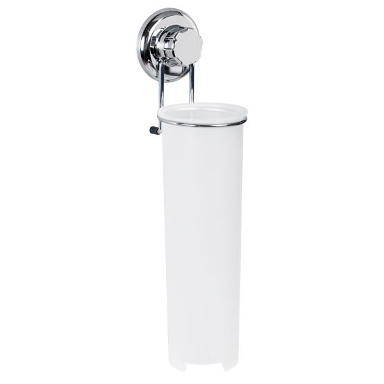 Держатель для ватных дисков Tatkraft Mega Lock, высота 34,5 см11472Держатель для ватных дисков Tatkraft Mega Lock оснащен емкостью из белого пластика, которая крепится на подставку из хромированной стали. Емкость оснащена крышкой сверху и отверстием снизу, откуда можно доставать ватные диски. Держатель крепится к стене с помощью вакуумного шурупа, при установке которого не нужно использовать дрель или отвертки. Он крепится по принципу присоски: подробная инструкция по установке представлена на обратной стороне упаковки. Характеристики:Материал: пластик, хромированная сталь. Высота держателя: 34,5 см. Диаметр по верхнему краю: 8,5 см. Диаметр по нижнему краю: 6,5 см. Размер упаковки: 14,5 см х 41 см х 10 см. Артикул: 11472.