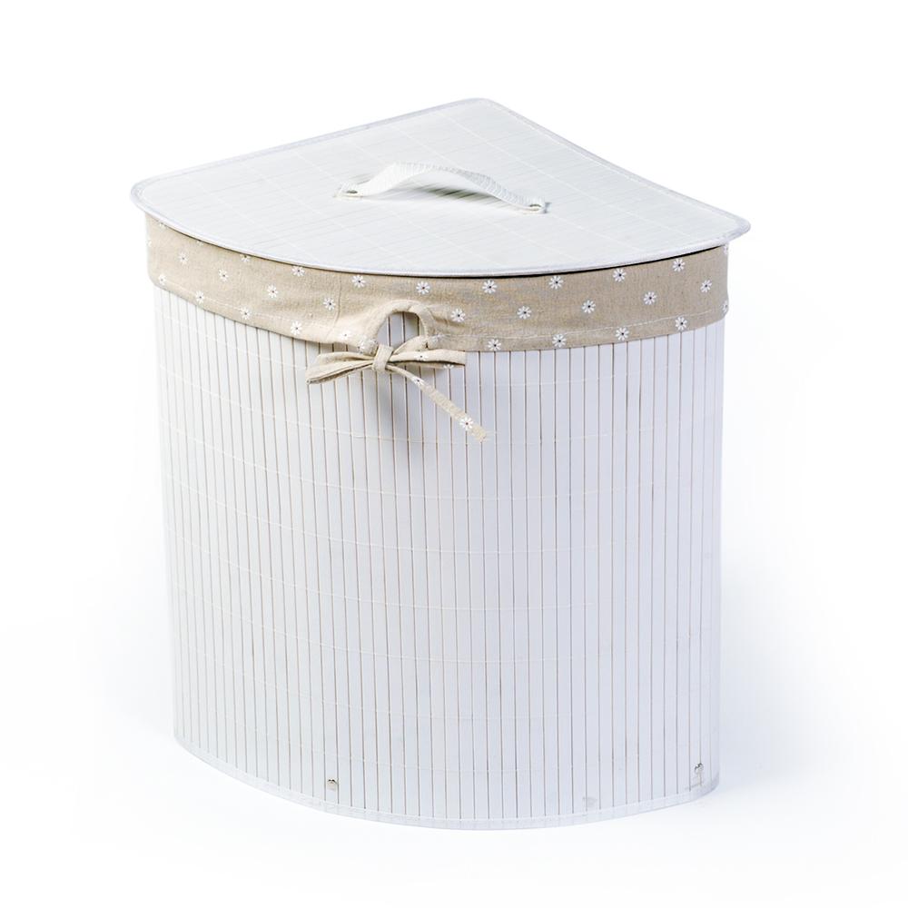 Корзина для белья Tatkraft Virginia, угловая, цвет: белый, 35 х 35 х 50 см 1184711847Уникальная угловая корзина для белья Tatkraft Virginia изготовлена из натурального бамбука и имеет складную конструкцию.Натуральный бамбук обладает рядом положительных качеств: антибактериальный, гипоаллергенный, износостойкий, дезодорирует. Внутренний чехол, изготовленный из натурального хлопка, деликатен к белью. Оригинальная корзина не занимает много места, легко складывается и собирается. Устойчива к влажности и перепадам температур.Можно использовать для хранения белья, детских игрушек, домашней обуви и прочих вещей.Натуральная, бамбуковая корзина Tatkraft Virginia станет нужным и практичным аксессуаром в любой ванной комнате.Объем: 48 л. Размер: 35 см х 35 см х 50 см.