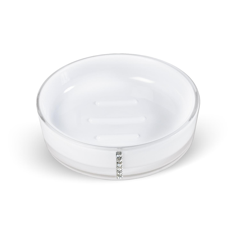 Мыльница Tatkraft Diamond White, цвет: белый12394Круглая мыльница Diamond White выполнена из акрила и украшена стразами. Она имеет ребристое дно, что препятствует скольжению мыла. Такая мыльница станет стильным аксессуаром, который украсит интерьер вашей ванной комнаты. Характеристики:Материал: акрил, стразы. Цвет: белый. Диаметр мыльницы:11,5 см. Высота мыльницы: 3 см. Размер упаковки:11,5 см х 11,5 см х 3 см. Артикул: 694727.