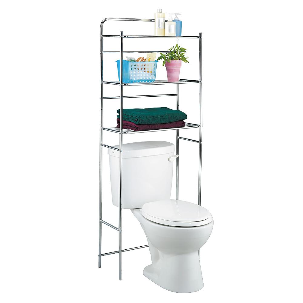 Полка для туалета Tatkraft Tanken, 3-х ярусная, цвет: серебристый, 59,5 см х 26 см х 151,5 см tatkraft mega lock