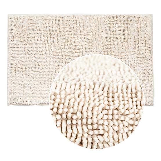 Коврик для ванной комнаты Tatkraft, цвет: белый, 50 х 80 см 1428214282Коврик для ванной комнаты Tatkraft выполнен из шенилла белого цвета с длинным ворсом. Мягкий и приятный на ощупь коврик обладает высокой износостойкостью, а также имеет нескользящую подложку. Специальная технология создает эффект игры оттенков цвета. Шенилл в переводе с французского chenille - гусеница. Шенилл - плотная, прочная ткань, имеющая очень сложную структуру по способу переплетения нитей, что делает ткань практически нерастяжимой, придает ей плотность и прочность. Пушистость шенилловой нити придает ткани необыкновенную мягкость. На такой ткани не образуются катышки, она всегда остается приятной на ощупь. Коврик для ванной комнаты Tatkraft не только сделает комфортным ваше пребывание в ванной, но и стильно украсит интерьер. Можно стирать в стиральной машине: не теряет форму и цвет. Характеристики: Материал: шенилл (100% полиэстер). Цвет: белый. Высота ворса: 1,5 см. Размер коврика: 50 см х 80 см. Производитель: Эстония. Изготовитель: Китай. Артикул: 14282.