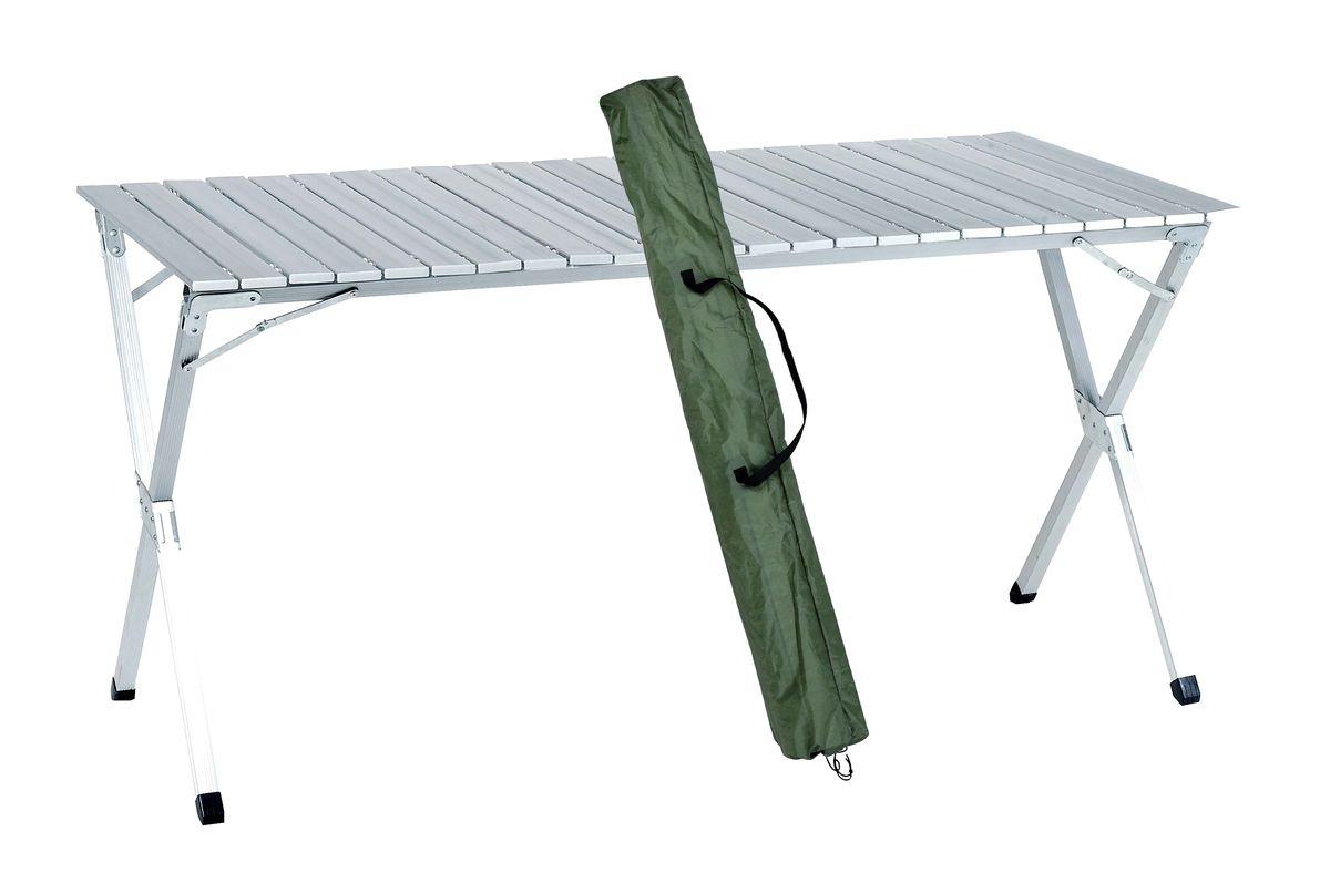 Стол складной Green Glade, 140 см х 70 см х 70 см5203Складной стол Green Glade со столешницей из наборного алюминия предназначен для использования на природе, дома, охоте, рыбалке.- Столешница из наборного алюминия. - Компактно скручивается в рулон. - Складывается в чехол из прочного материала с лямкой для переноски. - В сложенном состоянии занимает мало места.